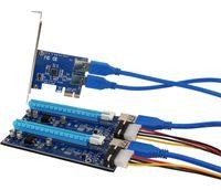 ranura pcie pci al por mayor-Envío gratuito NUEVA tarjeta PCIe 1 a 2 ranuras PCI express 16X Tarjeta vertical PCI-E 1X a externa 2 Ranura PCI-e Adaptador Tarjeta de multiplicador de puerto PCIe