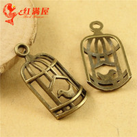 Wholesale Bird Cage Pendant Charm - A3524 14*21MM Antique Bronze High quality alloy die-casting fittings factory price bird cage Pendant, hawaiian birdcage charm beads