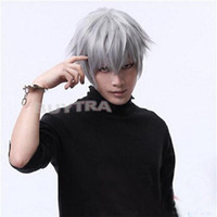 Wholesale Ken Wig - 100% Brand New High Quality Fashion Picture full lace wigs>>Anime Tokyo Ghoul Kaneki Ken White Fibre Hair Wig Hairpiece Cosplay Costume NEW