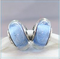 Wholesale Screw Core Murano Glass - 5pcs 925 Sterling Silver Screw Core Cinderellas Signature Color Fluorescence Murano Glass Bead Fit European Pandora Charm Jewelry Bracelets