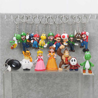 Wholesale Mario Keychain Yoshi - Super Mario 18pcs set PVC Super Mario Bros keychain Luigi Yoshi Peach Mushroom Toad Shy Guy Action Figures Gift OPP retail