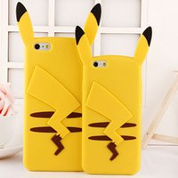 Wholesale 3d Rubber Phone Cases - Cute 3D Cartoon Pocket Monsters Pika Soft Silicone Case For iPhone 7 6 6S Plus 5 5S SE 4 4S Pikachu Rubber Cover Phone Cases