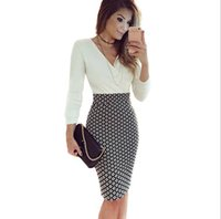 Wholesale Women Career Wear - Fashion V-neck Long-sleeved Women Career Pencil Dresses Printed Patchwork Full Sleeve Slim Work Sexy Club Night Out Dress XXL