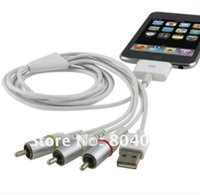 T connettore dock TV del RCA video composito Cavo AV + USB 2.0 per Apple per iPad 1 2 3 per il iPhone 4 4S 3GS per iPod Touch per Nano