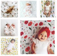 Wholesale Wholesale White Muslin - Baby Blankets Flamingos Muslin Swaddle Wraps Bamboo Cotton Girls Boys Blanket Newborn Muslin Blankets Christmas Gifts 120x120cm