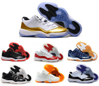 Wholesale Embroidered Pink Ivory Lace - 2017 air retro 11 women men basketball Shoes Low Metallic Gold Closing Ceremony Navy Gum Blue university blue Barons bred concord sneakers
