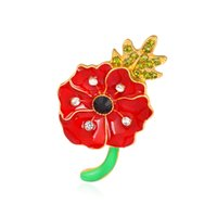 Wholesale Pin Diamante - DHL Free Shipping Gold Tone Red Enamel Poppy Brooch UK Fashion Hot Sale Crystal Diamante Poppy Flower Pin Brooches