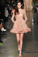 Wholesale Elie Saab Cocktail - Long sleeve pearl pink jewel lace beading flower a line short mini Elie Saab prom graduation cocktail dresses evening gowns party guest
