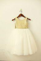 ingrosso passo pasquale-Oro / Blush Pink SequinTulle Flower Girl Dress Champagne / Navy Sash Bow Wedding Bambini Pasqua Junior Comunione battesimo Dress
