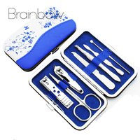 Wholesale porcelain tools for sale - Group buy Blue And White Porcelain Case In Utility Manicure Set Tools Nail Clipper Kit Nail Care Set Pedicure Scissor Tweezer