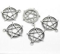 Wholesale Horn Tones - Supernatural Charms 20 Silver Tone Pentagram Round Charms Pendants 31x28mm pendant string pendant charm necklace