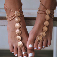 Wholesale Barefoot Sandals For Boys - Ankle Bracelet Gold Plated Barefoot Sandals Vintage Anklets for Women Beach Jewelry Foot Bracelet Boho Anklet Chaine Cheville
