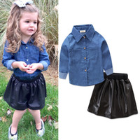 Wholesale Denim Shirts Leather - New Baby Girls Denim Fashion Set Clothing Children Long Sleeve Shirts Top+Black PU Leather Shorts Skirt+2PCS Autumn Outfits Kids Tracksuit