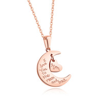 Wholesale Rose Gold Star Necklace - New Ladies Women Moon Star Sun Cubic Zirconia Pendant Stainless Steel Heart Pendants Chain Necklace Romantic Charm Jewelry Gift for Mom Wife