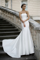 Wholesale New Fall Dresses - Millanova 2016 Fall Vintage Satin Mermaid Wedding Dresses with Lace up Simple Strapless Ivory Lace Applique Corset Bridal Gowns New Arrival