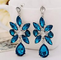 Mode Crystal Rhinestone Femmes Elegant Royal Blue Ear Stud Dangle Boucles d'oreilles Charmant Bijoux Earing Earring Ear Rings Accessoires Free DHL