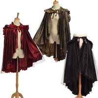 Wholesale unique women costumes online - Unique Victorian Bustle Skirt Women Retro Gothic Flounce Cape Reenactment Punk Costume Cosplay Wear Ways