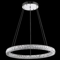 Wholesale K9 Crystal Single Pendant - VALLKIN Crystal Pendant Light K9 Crystal LED Chandeliers Lighting Modern Hanging Lamps Fixtures for Cafe with Single D80CM 33W CE FCC ROHS