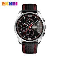 Wholesale Wrist Watch Original Straps - Original SKMEI 9106 Men's Waterproof Leather strap Quartz Date Calendar Wrist watch Clock Hours Good quality