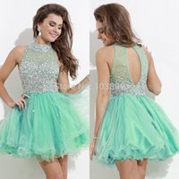 Новый Shinning Crystal Short Homecoming Dreses 2016 Jewel Beading Sexy Back Mint Green Fuchsia Navy Blue Prom Party Cocktail Gown Cheap Custom