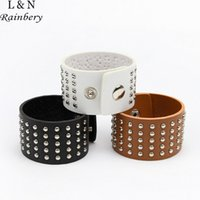 Wholesale Leather Celtic Studs - Wholesale-RAINBERY Unique Five Row Rivet Stud Wide Cuff Leather Punk Gothic Rock Unisex Bangle Bracelet For Women Men