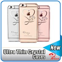 Iphone Plaqué Or En Diamant Pas Cher-Pour iphone 6 cas ultra mince nettoyer Soft TPU Crystal Phone cas Rose Gold Plating Glitter Diamond couverture pour iphone 6S 6 Plus