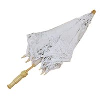 All'ingrosso-buon affare 1X Vintage White Cotton Handmade Parasol Lace Sun Umbrella Wedding Party nuziale