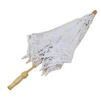 eski dantel şemsiyeleri toptan satış-Toptan-Iyi anlaşma 1X Vintage Beyaz Pamuk El Yapımı Şemsiye Dantel Güneş Şemsiye Parti Düğün Gelin
