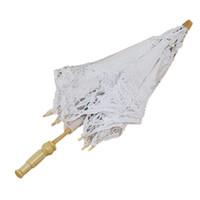 Wholesale White Lace Parasol Umbrella Wholesale - Wholesale-Good deal 1X Vintage White Cotton Handmade Parasol Lace Sun Umbrella Party Wedding Bridal