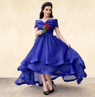 Wholesale Cheap Maternity Gowns For Parties - Blue Arabic High Low Prom Dresses Off The Shoulder Organza Party Gowns Cheap Tiered Skirt Evening Wear For Women