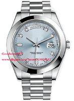 Wholesale President Ii - Top quality Men's Wristwatch Sapphire Day-Date II 41 President Platinum Watch Ice Blue Diamond Dial 218206 Men's Automatic Watch