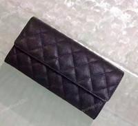 Wholesale leather wallets coin pocket resale online - original caviar leather flap wallet women s classic calfskin long wallet fashion lady purse black