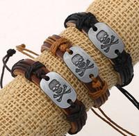 Wholesale Leather Wristband Skull - Genunie leather bracelet women bracelets metal skull head charm gifts jewelry adjustable men wristband bangle cuff bracelets