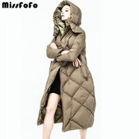 MissFoFo Womens Down Coat CLJ Parkas Cappuccio Plus Size Casual Reversibile Femminile Long Design 90% White Goose Down 3XL Double-Face
