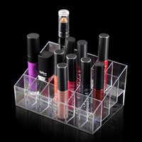 Wholesale Wholesale Makeup Stands - 24 Lipstick Holder Display Stand Clear Acrylic Cosmetic Organizer Makeup Case Sundry Storage makeup organizer organizador Brand
