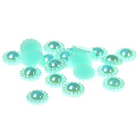 Wholesale Half Pearls For Scrapbooking - 10mm 100pcs Sunflower Half Round Resin Pearls 8 AB Colors Imitation Flatback Glue On Craft Beads For Scrapbooking Decorations
