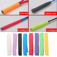 Wholesale sweat bands resale online - 10X Anti Slip Sweat Band Tennis Badminton Racket Handle Grip Fishing Rod Band Sporting Goods