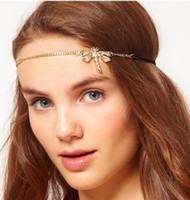 Wholesale Style Hair For Girl - Europe America Hot Sell Classic Alloy Gold Plating Rhinestone Hair Accessories Nice Dragonfly Style Hair Band Hair Jewelry For Women Girls