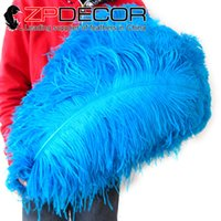 Wholesale Ostrich Feathers 24 Inches - Golden Manufacturer ZPDECOR 60-65cm(24-26 inch) High Quality Beautiful Dyed Turquoise Ostrich Feather for Decorative Handicrafts