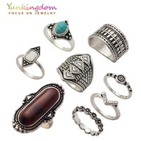 Wholesale Cheap Silver Stoned Rings - Wholesale- Yunkingdom New Vintage Stones Ring Set Bohemia Ethnic Rings for Women Silver Color jewelry Cheap Wholesale   Retail