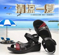 Wholesale Genuine Woman Leather Sandals - Hot selling 2016 New summer sandals mom Genuine leather women shoes slope with middle-aged comfortable ladies Beach shoes large size 35-41