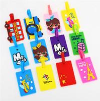 Wholesale custom board - Cartoon Luggage Tag Soft Silicone PVC Boarding Pass Novelty Custom Tags Creative Small Gifts Multi Pattern 2 8ld F R