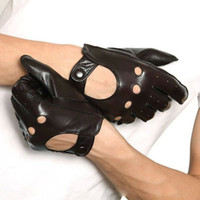 Wholesale Men S Fingerless Leather Gloves - 2016 Sale Fashion Breathable Men Gloves Real Solid Genuine Leather Wrist Sheepskin Full Finger Driving Glove Special Offer M018w