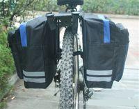 bisiklet rafı poşetleri toptan satış-Siyah Bisiklet Bisiklet Eyer Çantası Bisiklet Çantaları PVC ve Naylon Su Geçirmez Çift Yan Arka Raf Kuyruk Koltuk Çanta Pannier Bisiklet aksesuarları