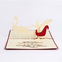 открытки оригами ручной работы оптовых-Новые рождественские открытки ручной работы творческий киригами оригами 3D всплывающее Поздравительная открытка с Санта ездить Desgin открытки бесплатная доставка