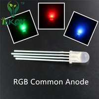 Wholesale Tri Color Led Lights - High Quality 5000pcs lot 5mm Diffused COMMON Anode Red Green Blue RGB LED 4Pins Tri Color Emitting Diodes F5 RGB Diffused LEDs LIGHT