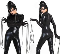 Sexy Faux Leather Cat Catsuit Catwomen Cosplay Halloween Fancy Dress Cost SMG63 один размер S-L