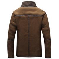 кожаная куртка с меховой подкладкой оптовых-4XL 5XL мужчины Зимняя кожаная куртка коричневый кожаная куртка большой размер искусственного меха подкладка пальто Зимняя искусственная кожаная куртка