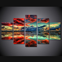 Wholesale Canvas Hd Paintings - 5 Panel HD Printed Red Clouds Painting Canvas Print room decor print poster picture cuadros decorativos