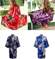 Wholesale Kimono Sleeve Robe Wholesale - Satin Robes for Brides Wedding Robe Sleepwear Silk Pijama Casual Bathrobe Animal Rayon Long Nightgown Women Kimono Plus XXXL